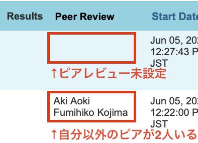 ピアレビュー機能(Peer Review)が利用可能か確認する(Student)