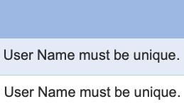 使用しようとしたUser nameが「already exists」と表示され使用できない